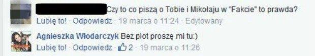 Agnieszka Włodarczyk odpowiada na komentarz internauty