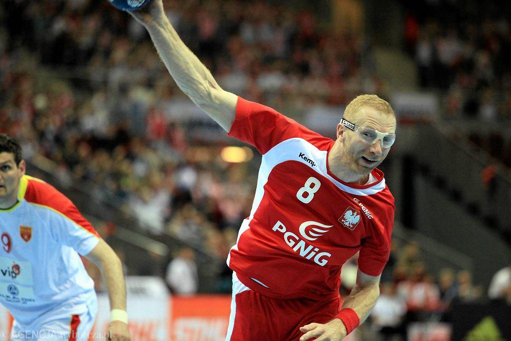 Karol Bielecki podczas meczu Polska - Macedonia