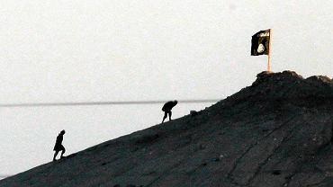 Terroryści z Państwa Islamskiego umieszczają flagę na wzgórzu nad Kobane