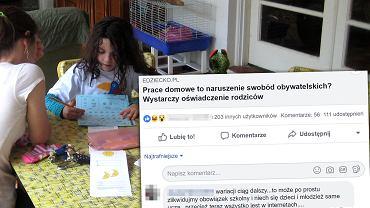 Autorzy akcji 'Dom nie jest filią szkoły' próbują przekonywać, że prace domowe to naruszenie swobód obywatelskich