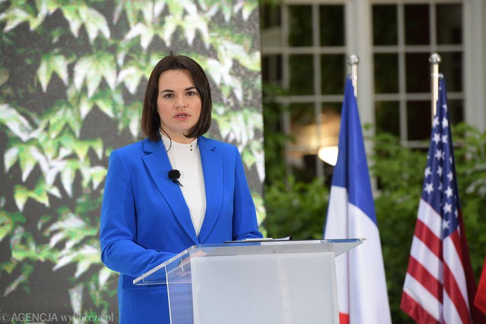 Swietlana Cichanouska podczas wreczenia Nagrody Jana Nowaka Jezioranskiego