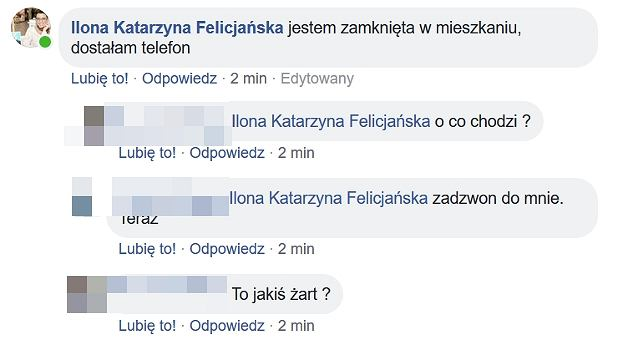 Komentarz Ilony Felicjańskiej na Facebooku