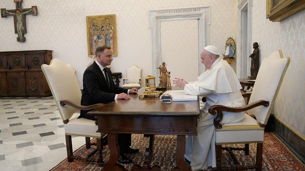 Andrzej Duda z papieżem Franciszkiem w Watykanie