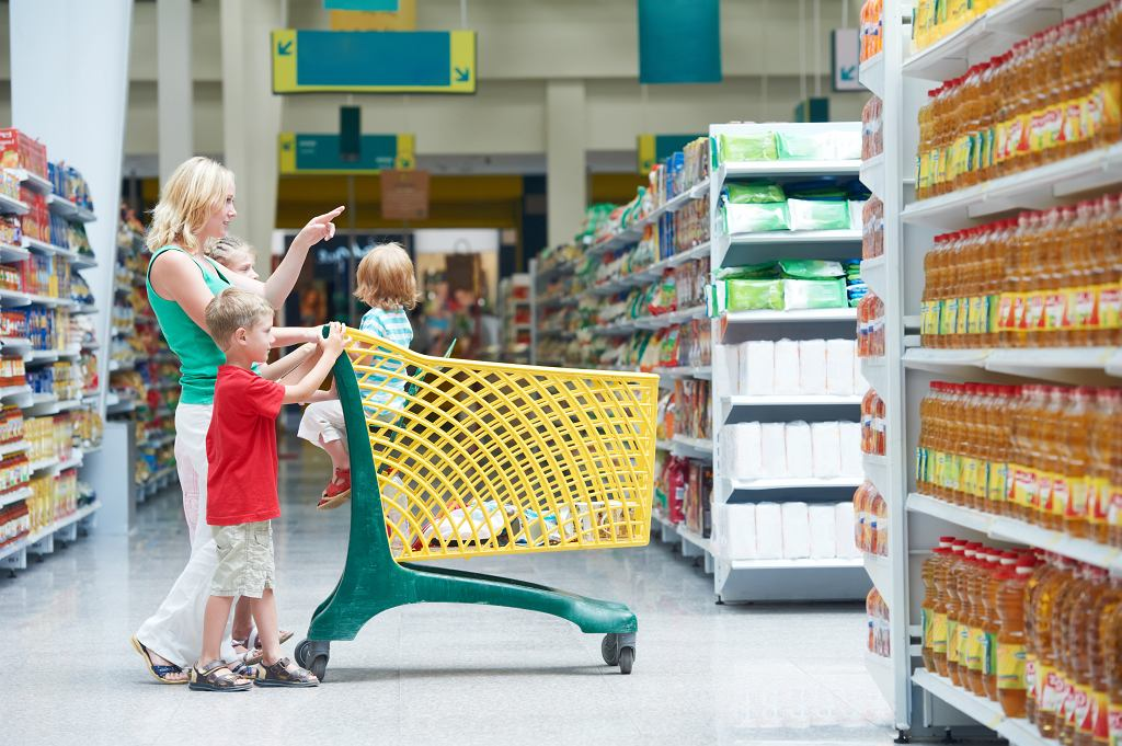 EWoman,And,Children,With,Shopping,Cart,In,Supermarket,Store,Warwehouse