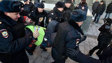 Zatrzymacie w czasie protestu w Rosji