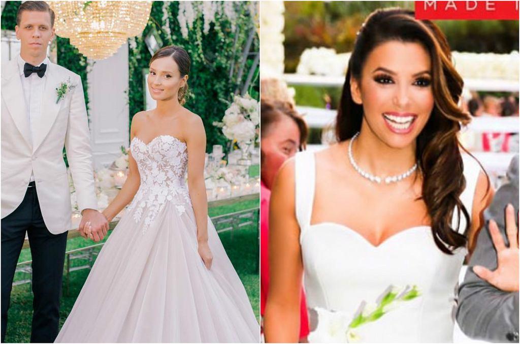 Marina Łuczenko wzięła ślub z Wojciechem Szczęsnym w pięknej, ale też kosztownej sukni, za to Eva Longoria (jak na hollywoodzkie standardy) przyoszczędziła na swojej kreacji. Zobaczcie, ile gwiazdy wydały na suknie ślubne.