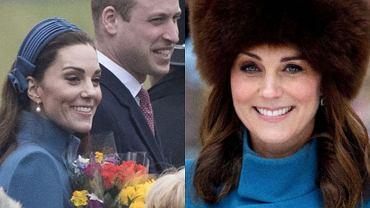 Księżna Kate po raz drugi założyła niebieski płaszcz