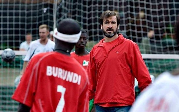 hFormer French soccer star Eric Cantona visits the 5th Homeless World Cup Soccer tournament in Copenhagen