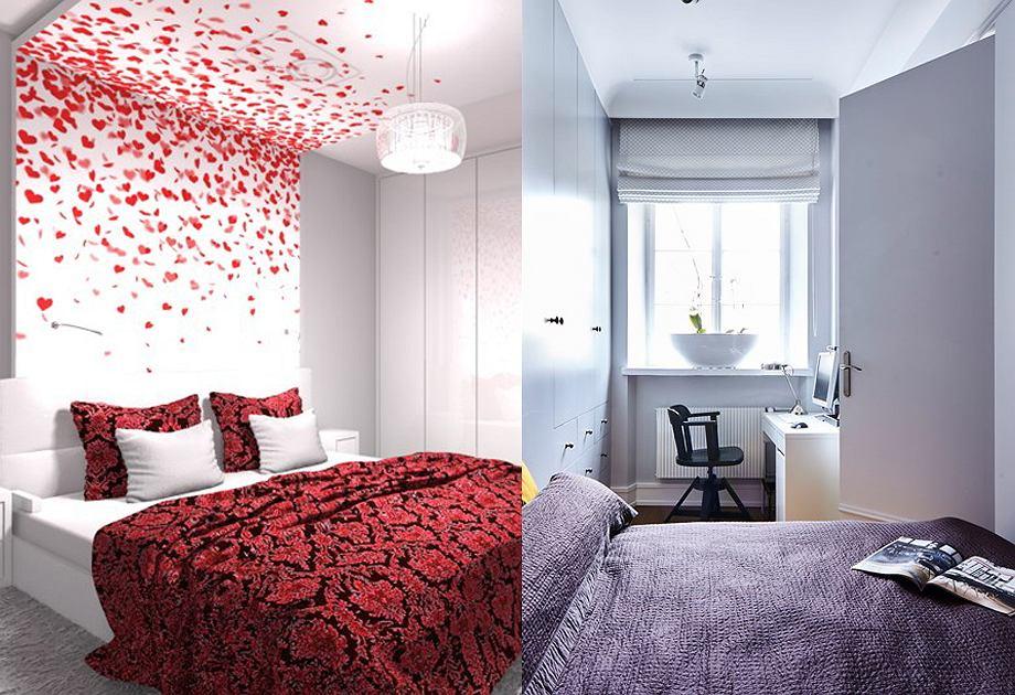 Sypialnia szaro-czerwona i sypialnia szaro-fioletowa