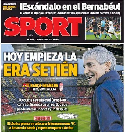 Okładka dziennika 'Sport'