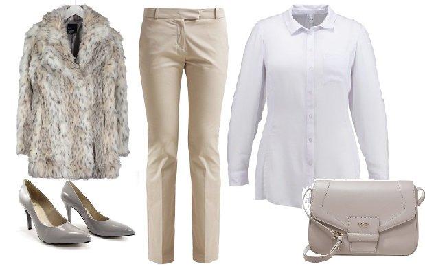spodnie Kiomi, koszula Evans, torebka Tosca BLu, czółenka Anis, futro Even&Odd