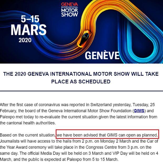 Salon Genewa 2020, mail o koronawirusie
