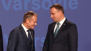 Pierwszy dzien szczytu NATO w Warszawie. Donald Tusk i Andrzej Duda (fot. Sławomir Kamiński/AG)