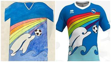 6-letni chłopiec zaprojektował koszulkę Pescary. Po lewej jego rysunek, a po prawej wygląd koszulki, w której włoski zespół będzie grał w kolejnym sezonie