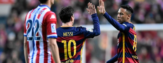 FC Barcelona's Lionel Messi, center, celebrates with Neymar after scoring a goal during their Spanish La Liga soccer match between Sporting de Gijon and FC Barcelona, at El Molinon stadium, in Gijon, northern Spain, Wednesday, Feb.17, 2016. (AP Photo/Alvaro Barrientos) SLOWA KLUCZOWE: XLALIGAX