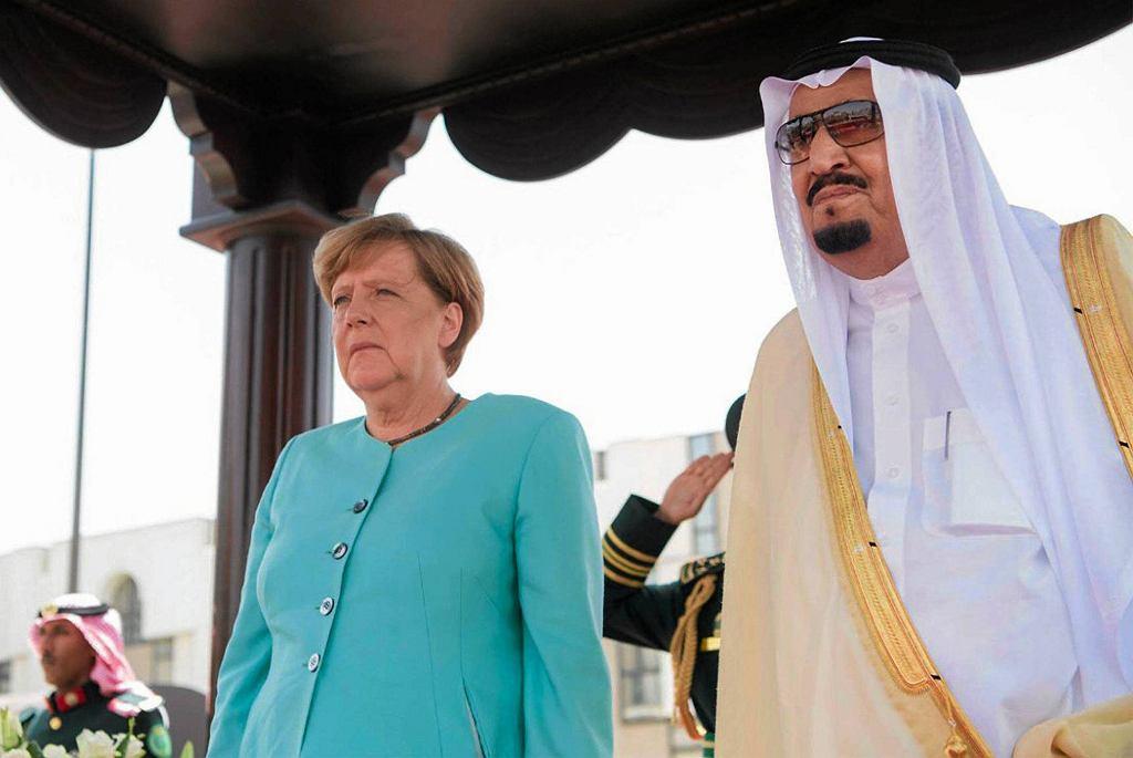 Angela Merkel i król Salman w Dżuddzie