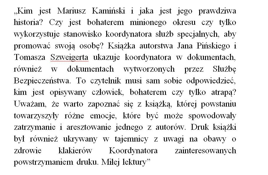 Recenzja autorstwa Piotra Wypija książki 'Kamiński'