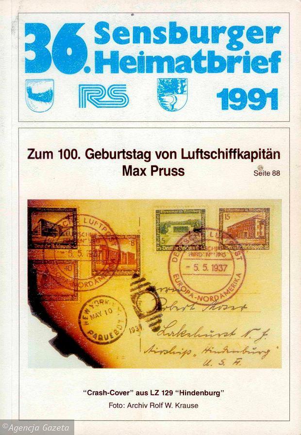 Okladka  36 numeru Sensbuger Heimatbrief . SLOWA KLUCZOWE: Hindenburg Max Pruss