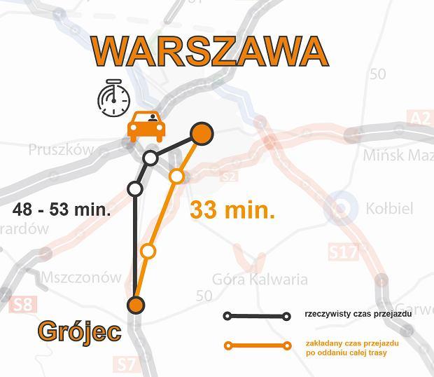 Mapa czas przejazdu_Warszawa_Grójec