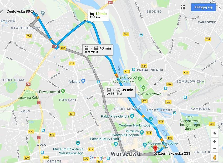 Odległość od Szpitala Bielańskiego do szpitala na Czerniakowskiej 231