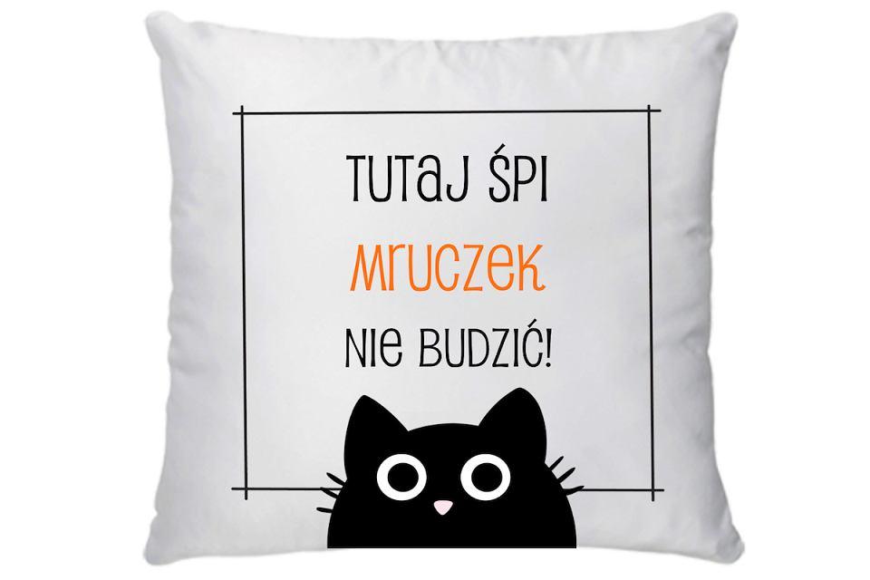 Poduszka dekoracyjna, a jednocześnie legowisko dla kota 'Tutaj śpi mruczek. Nie budzić!'.