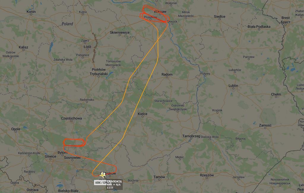 Trasa samolotu AWACS