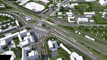 Przebudowa rejonu dworca Opole Wschodnie, skrzyżowanie ulicy Oleskiej z Batalionów Chłopskich i Plebiscytową - wizualizacja