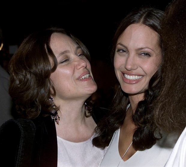 Actress Angelina Jolie (R) and her mother Marcheline Bertrand pose together at the premiere of Jolie's film