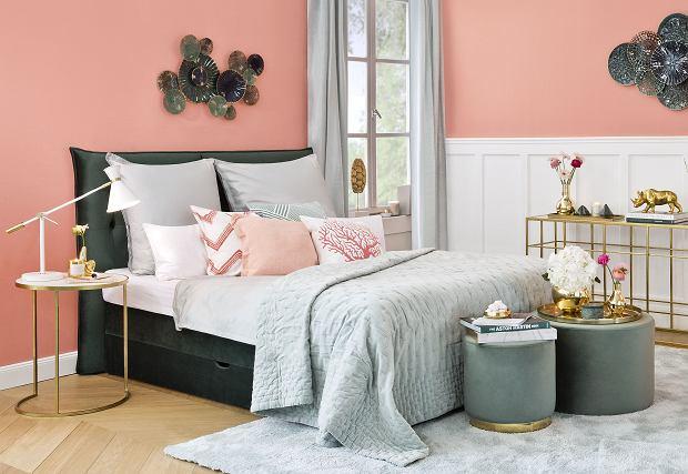 Łóżko tapicerowane w modnym kolorze