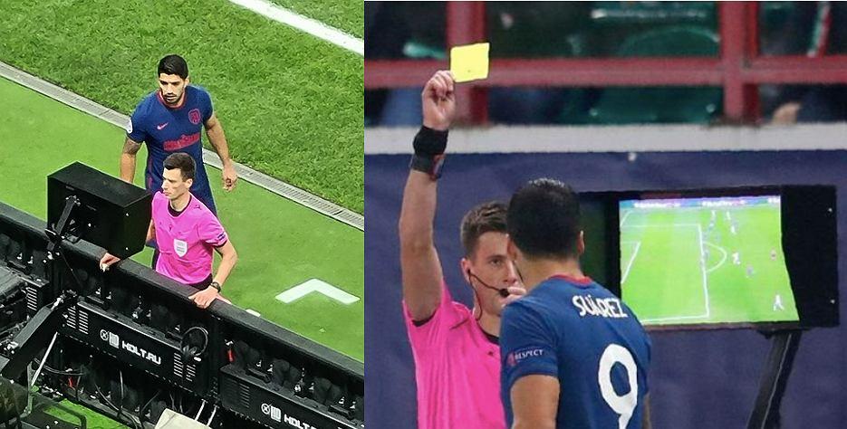 Luis Suarez ukarany przez sędziego żółtą kartką w trakcie meczu Ligi Mistrzów Lokomotowiu Moskwa z Atletico Madryt (1:1). Źródło: AP/Twitter