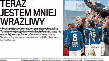 Rozmowa z trenerem Lecha Poznań Maciejem Skorżą