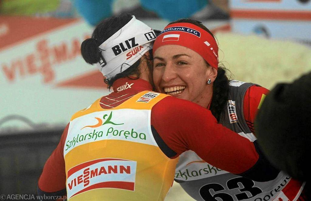 Justyna Kowalczyk i Marit Bjoergen w Jakuszycach. Na pewno Polka znajdzie w się Alei Gwiazd Narciarstwa w Dolnośląskim Centrum Sportu