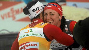 Justyna Kowalczyk i Marit Bjoergen w Jakuszycach