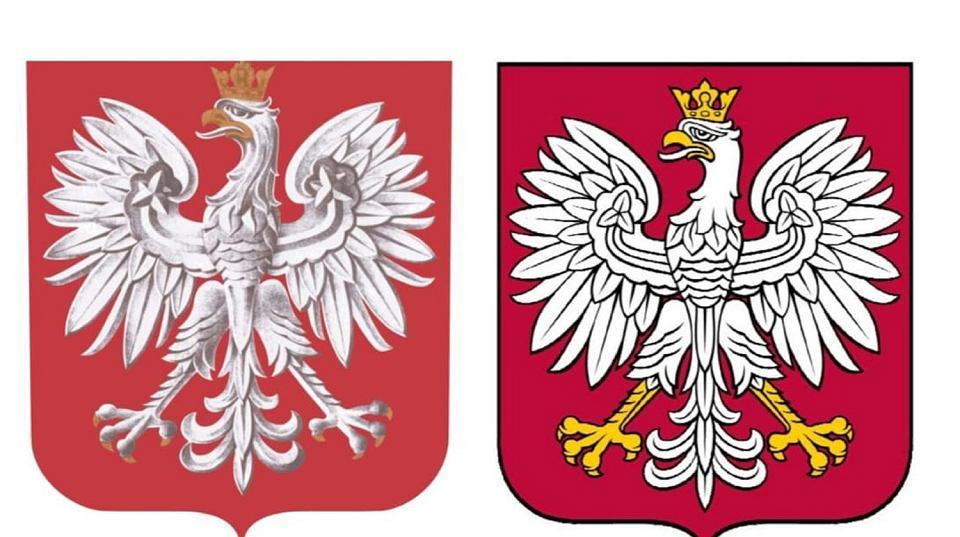 Godło Polski - z prawej nowy wzór, z lewej obecny