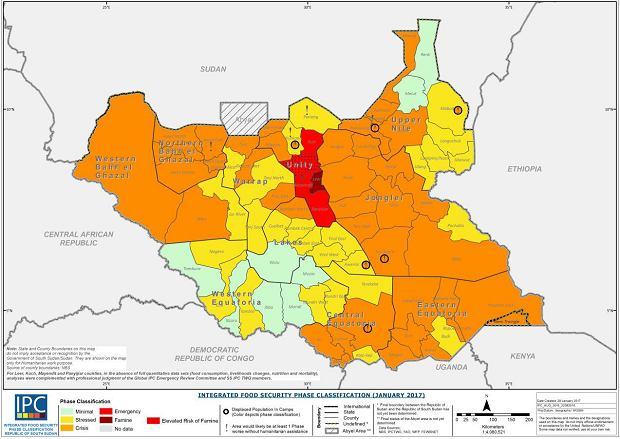 Mapa zagrożenia głodem w Sudanie Południowym