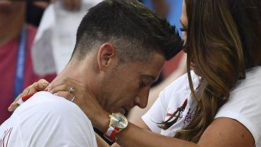 Anna Lewandowska i Robert Lewandowski po meczu Polska-Senegal. Mistrzostwa Świata w Rosji, Moskwa, 19 czerwca 2018