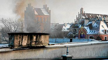 Dymiący w centrum Olsztyna