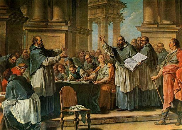 XVIII-wieczny obraz Charles'a-André van Loo 'Św. Augustyn spierający się z donatystami'.