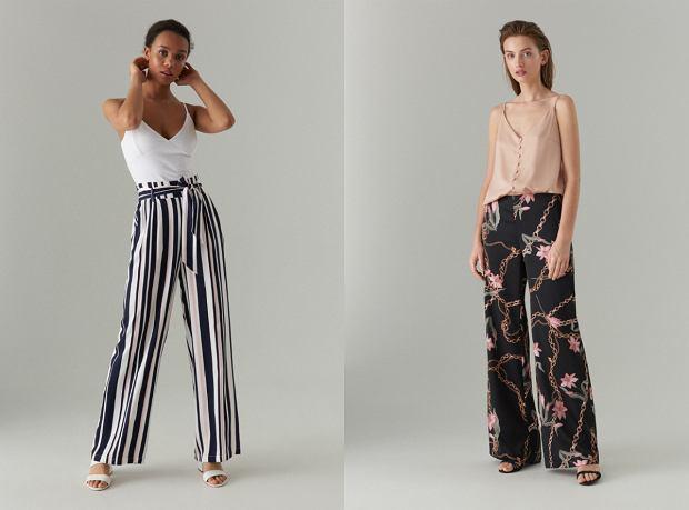 Szerokie spodnie z motywem