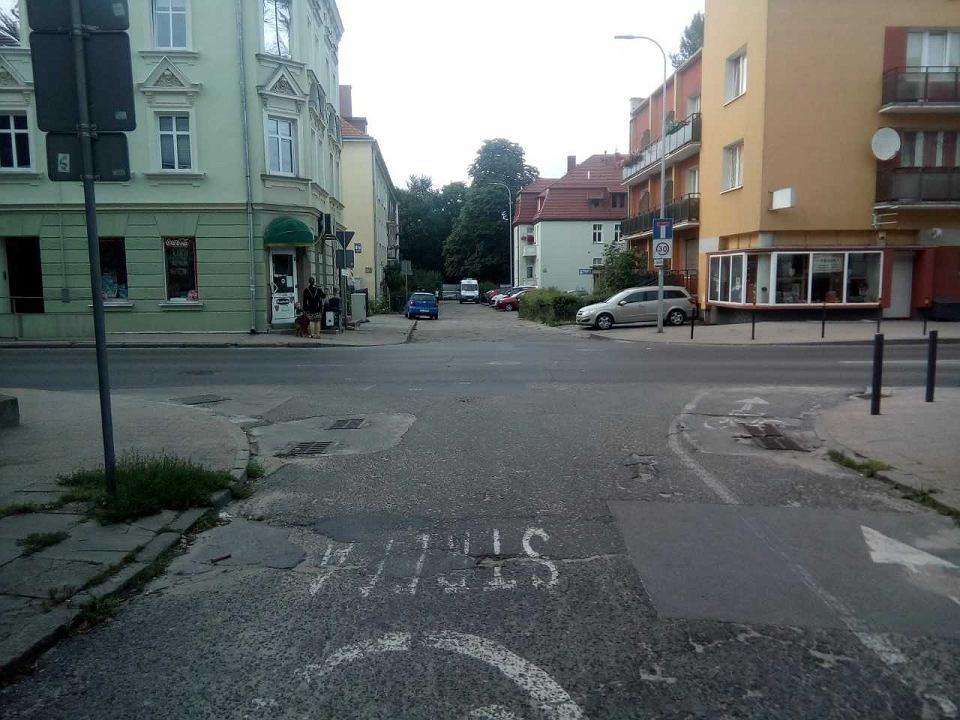 Miejsce przy ul. Partyzantów, gdzie doszło do wypadku.