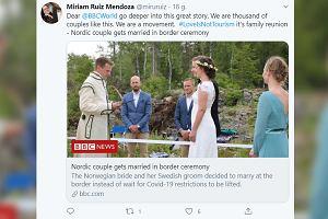 Zakochani wzięli ślub na granicy szwedzko-norweskiej. Powód zaskakuje