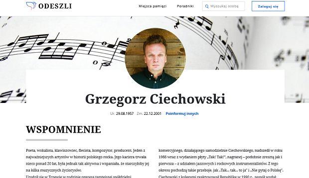 Miejsce pamięci Grzegorza Ciechowskiego na Odeszli.pl