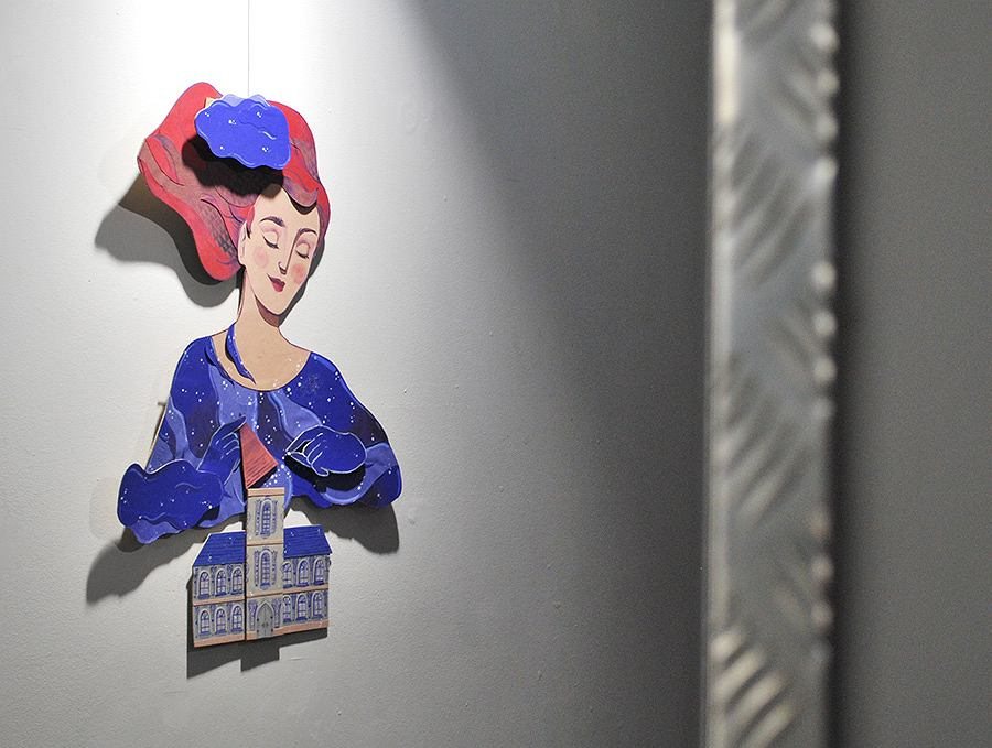 Skradziona praca z wystawy  'Ilustr-akcje' w Firleju