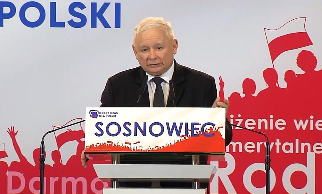 Jarosław Kaczyński na konwencji w Sosnowcu
