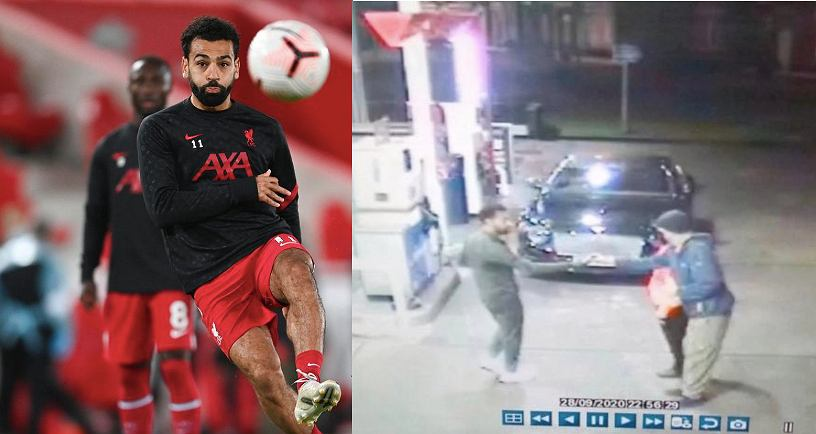 Liverpool's Mohamed Salah kicks the ball during the warm up ahead the English Premier League soccer match between Liverpool and Arsenal at Anfield in Liverpool, England, Monday, Sept. 28, 2020. (Laurence Griffiths/Pool via AP) SLOWA KLUCZOWE: XPREMIERX CORONAVIRUS COVID-19 / Źródło: Twitter/Purely Football