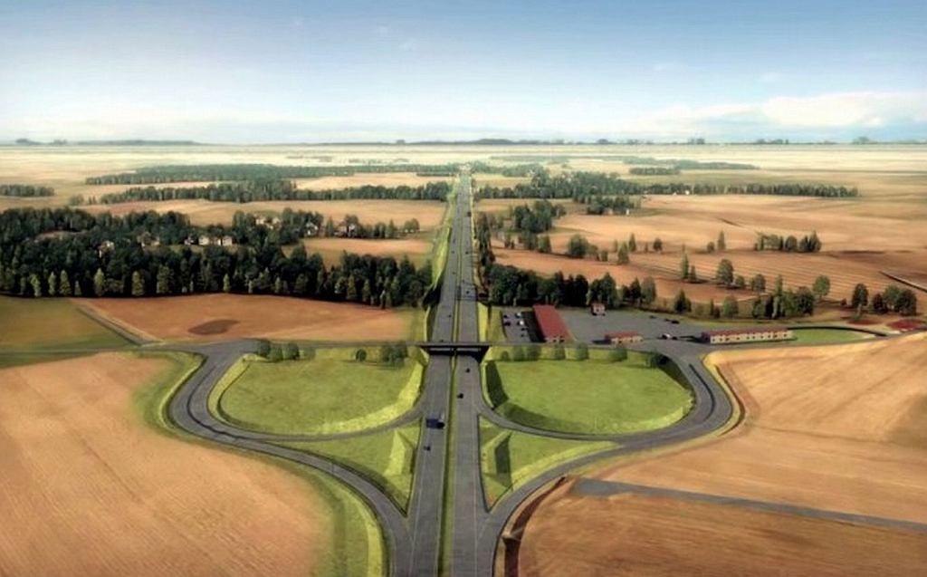 Wizualizacja jednego z węzłów drogowych na ekspresowej drodze S6