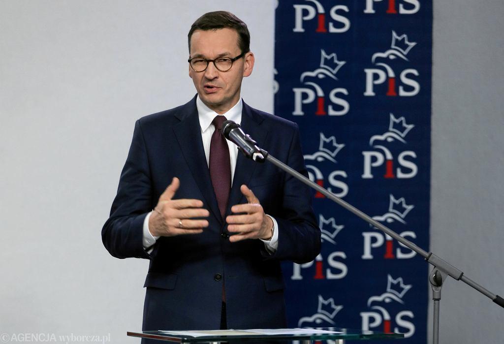 Premier Mateusz Morawiecki po posiedzeniu Komitetu Politycznego ogłasza skład nowego rządu, Warszawa 08.11.2019