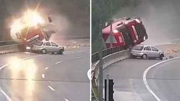 Kadry z nagrania kolizji samochodu osobowego i cysterny na Słowenii. Ciężarówka spadła z 20-metrowego wiaduktu.