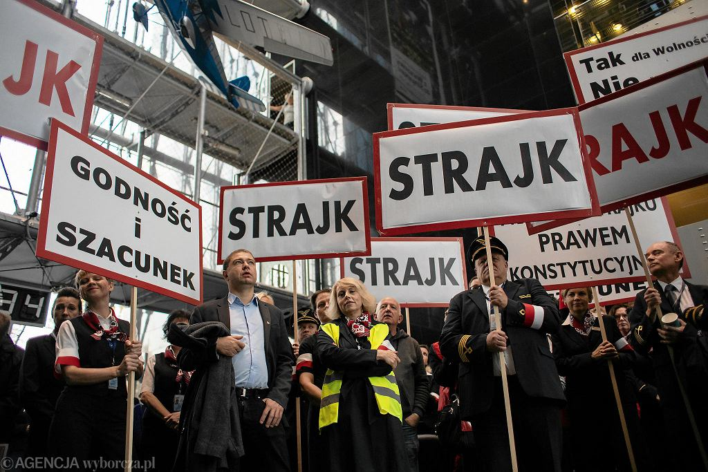 Strajk pracowników Polskich Linii Lotniczych Lot w Warszawie, 18.10.2018