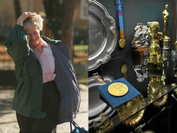 Wisława Szymborska tydzień po ogłoszeniu jej nazwiska i jej noblowski medal